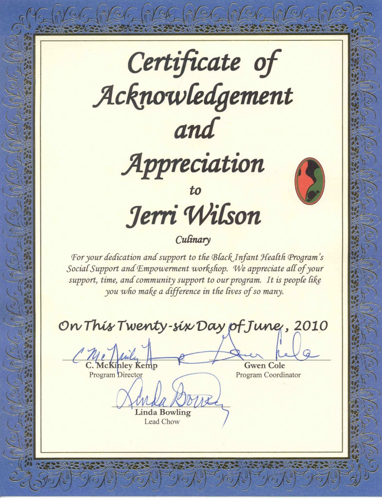 Culinary Certificate of Appreciation